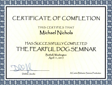 Fearful Dog Seminar Certificate, not obedience
