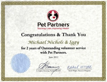 Pet Partners Iggy 2 years