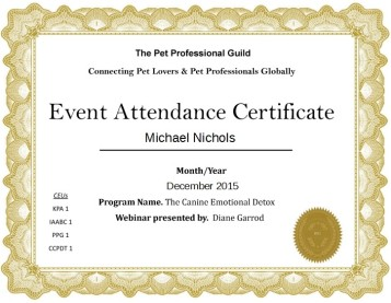 Pet Professional Guild Certificate