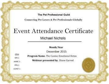 Pet Professional Guild Certificate